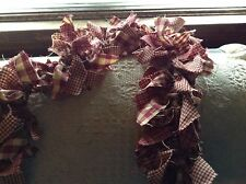 rag garland, Country, primitive 6' burgundy and tan hand made from homespun,swag