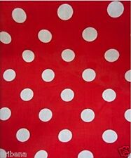 60-Inch Wide Polka Dot Poly Cotton Fabric By The Yard White Dot On Red Fabric