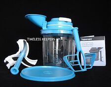 FREE SHIP Tupperware Power Chef System Blend Mix Emulsify Chop Large NEW Blue