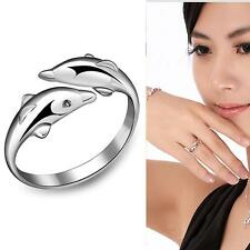 Hot Plated Sterling Silver 925 Double Dolphin Open Adjustable Rings Girl Gift KJ