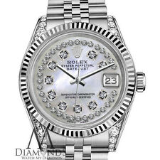 Woman's Rolex 26mm Datejust White MOP Mother Of Pearl String Diamond Dial Watch
