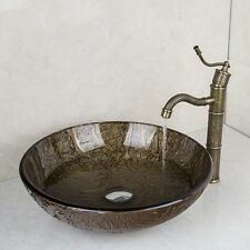 New hand~paint~color glass vessel sink with matching classical faucet