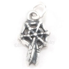 tiny 3D DREAM CATCHER Native Indian Charm Pendant 925 STERLING SILVER small