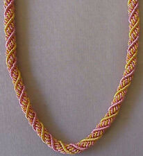 """Woven, Braided, Bullion, Rope Necklace. 22"""" Pink & Gold. Artisan Handcrafted"""