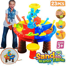 KIDS ROUND SAND AND WATER TABLE W/ STOOL BEACH GARDEN SANDPIT ACTIVITY PLAY SET