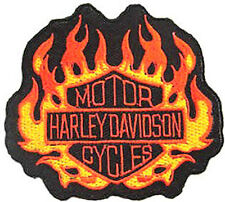Iron On/ Sew On Embroidered Patch Badge Harly Flames Fire Burn Dave HD