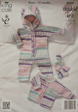 KNITTING PATTERN Baby Cardigan, Socks and Onesie with Hood DK King Cole 4009