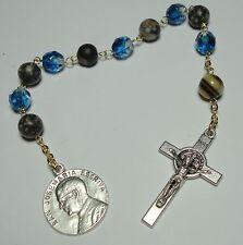 Natural Stone St Josemaria Escriva 1-Decade Rosary St Benedict Cross Opus Dei