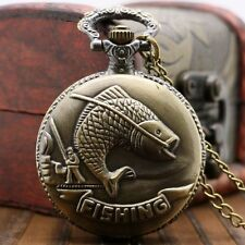Classic Bronze Fishing Angling Quartz Pocket Watch Necklace Pendant Mens Gift
