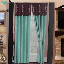 Luxury Western Star Cross Design Embroidery Curtain Lining Turquoise Blue Brown