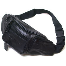 Black Leather Waist Fanny Pack Belt Bag Pouch Travel Hip Mens Womens Purse 2131