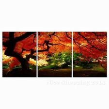 Red Maple Tree Paintings Wall Art Set Canvas Framed Hang Decor Living Room Gift