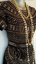 Vtg 1920,s style Jazz Age Gatsby black gold beaded flapper jumpsuit size 8