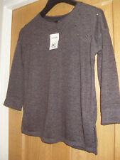 NEXT SZ 8 NWT EMBELLISHED GREY WAIST LENGTH JUMPER TOP ROUND NECK SIDE VENTS