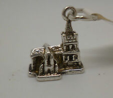 Vontage Antique Sterling silver church charm with soldered jump ring attached