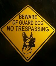 "2 Signs BEWARE OF GUARD DOG NO TRESPASSING GERMAN SHEPHERD (Face) 10""x10"""