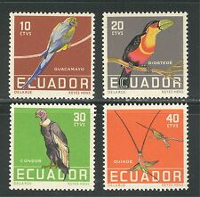 BIRDS: MACAW, TOUCAN, CONDOR, HUMMINGBIRDS ON ECUADOR 1958 Scott 634-637, MNH