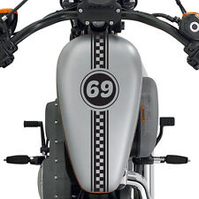 "(2x) 24"" Custom Motorcycle Checkered Number Racing Decal Stripes Cafe Racer Moto"