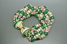 Vintage Rare 70s KJL Kenneth Jay Lane moghul green pink beaded bracelet