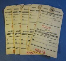 Lot of 5 Old Vintage SIERRA RAILWAY Co. Interline BAGGAGE TAGS - California