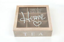 Wooden Chic Tea Bag Box 9 Section Compartments Container Bag Chest Storage Case