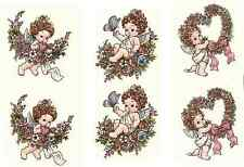 "6 Angels Flower Wreath 1-1/2"" Waterslide Ceramic Decals Xx"