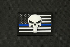 USA Punisher Police Thin Blue Line Flag 3D PVC Glow Patch SWAT Gang Team Hook