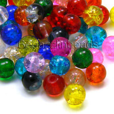 Lot of 100 Assorted Colored 6mm Round Crackle Glass Beads w/ Cracked Inclusions