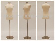 Size 6-8 Female Mannequin Dress Form+Round Metal Base #JF-FWP-W + BS-04
