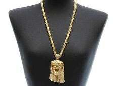 Bling Rhinestone ICED OUT JESUS Statement Gold Necklace Rope Chain