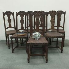 A Set of Eight Antique Dining Chairs - French Oak Renaissance style - j053
