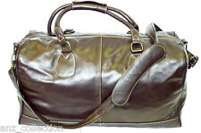 Large Brown Real Leather Holdall Duffle Travel Sports Gym Designer Weekend Bag