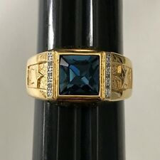 Danbury Mint US NAVY Pride Ring 14K Gold Plated with 8 Diamonds Size 14 wBox