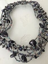 "18"" Czech Glass Bead Hematite Blue Gray Cascade Choker Strand NECKLACE Boho Chic"