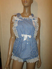 ADULT BABY SISSY ROMPER SUIT BLUE GINGHAM WHITE LACE  BIB TOP  BOWS 30-45  WAIST