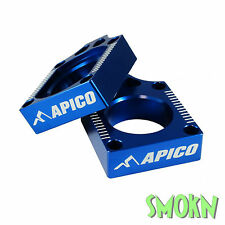 Apico Rear Axle Adjuster Blocks Kawasaki KXF 250 450 04-17 KLX 450 08-14 Blue