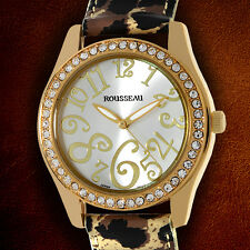 Rousseau Calame Swarovski crystals With Leopard Print Leather Strap Ladies Watch