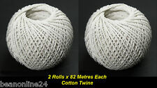 2 x 82 Metre Rolls x White Cotton Twine / Cooking Twine String Natural