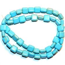NG1753f Blue Turquoise 8mm Flat Puffed Square Magnesite Gemstone Beads 15""