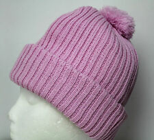 Ladies Girls Bobble Pom Pom Hat Pale Pink Chunky knit Very Warm New High Quality