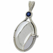 .925 Sterling Silver Blue Sapphire CZ H2O Just Add Water Mermaids Locket(sw)