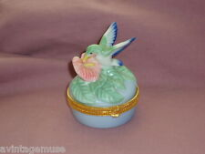FIGURAL HUMMINGBIRD PORCELAIN JEWELRY RING Treasure BOX VTG TAKAHASHI Japan SF
