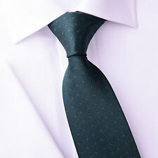 """Mens Skinny Tie Green Floral Pattern 3"""" Beautiful Woven A+ Matching Luxury Shirt"""
