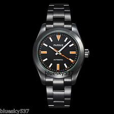 Sapphire Glass Parnis 40mm Black Dial PVD Milgauss Automatic Mens Wrist Watch