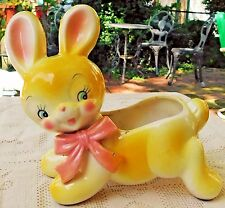 VINTAGE 1950's HAND PAINTED GLAZED PORCELAIN YELLOW BUNNY PLANTER - JAPAN