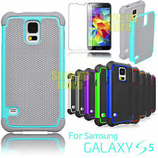 Rubber Plastic Defender Impact Hard Case Cover For Samsung Galaxy S5 S V I9600