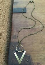 Unique Handmade Triangle Chevron & Circle Brass Obsidian Necklace Antique Chain