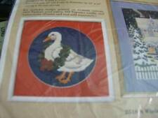"""Creative Circle Holly Duck Needlepoint Kit 10 inches Diameter on 13""""x13"""" Canvas"""