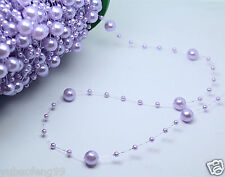 light purple Party Wedding Decor Garland Acrylic pearl Bead Strand curtain 1yd