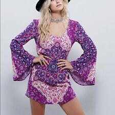 Free People Spell and the Gypsy Collective Kiss the Sky Bell Sleeve Mini Dress S